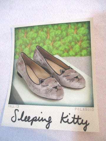 NEW CHARLOTTE OLYMPIA SLEEPING KITTY FLAT VELVET Shoe 36 MINK CAT Slipper