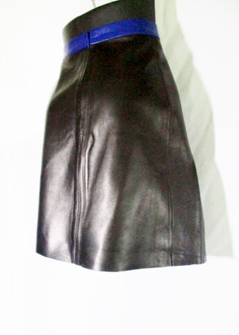 NWT New CELINE LAMBSKIN LEATHER Mini Short SKIRT 38 6 BLACK Blue Womens