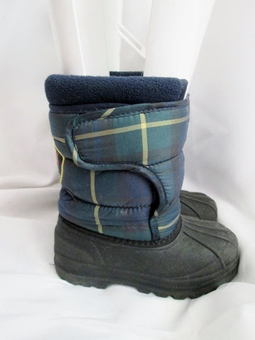 Kids Toddler Boys RALPH LAUREN POLO Snow Boots Winter 9 Duck BLUE PLAID Rain