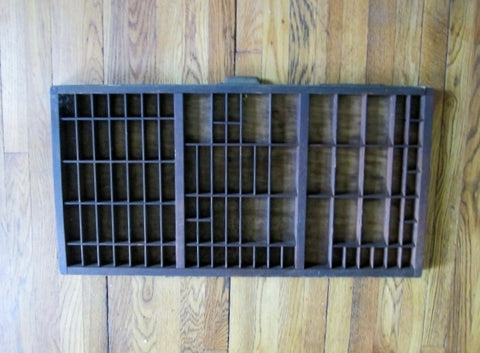 "32"" HAMILTON Wood Printers Typeset Tray Letterpress Drawer Shadow Box Curio Cabinet"