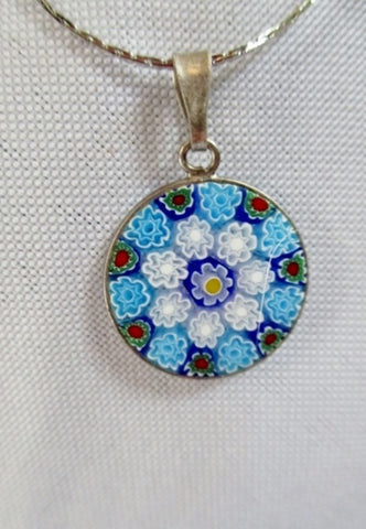 Sterling Silver Millefiori MURANO ITALY Venetian Glass BLUE NECKLACE FLOWER Pendant