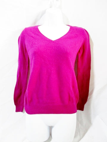Womens ANN TAYLOR CASHMERE Top Sweater M BERRY PINK FUSCHIA Jacket