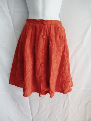 WOMENS 9-H15 STCL Anthropologie Pleated Button Skirt Hipster 6 ORANGE Boho