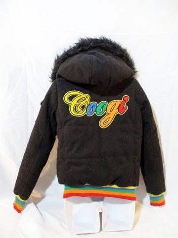 Womens COOGI Jacket Coat Hood Bomber Varsity BLACK S Faux Fur RAINBOW