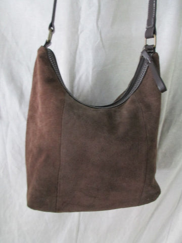 MUNDI Suede Leather Shoulder BAG Hobo Satchel CHOCOLATE BROWN M