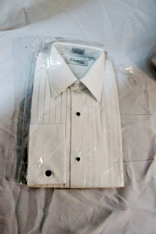 NEW Mens CRISTOFORO CARDI Pleated Tuxedo Shirt WHITE 15 - 34/35 Dress Formal