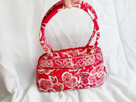VERA BRADLEY Vegan Quilted Bag Satchel Bowler RED PINK YELLOW Floral