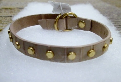 NEW NWT J.CREW ALLIGATOR CROC LEATHER Bracelet Arm Band Jewelry Cuff Stud TAN