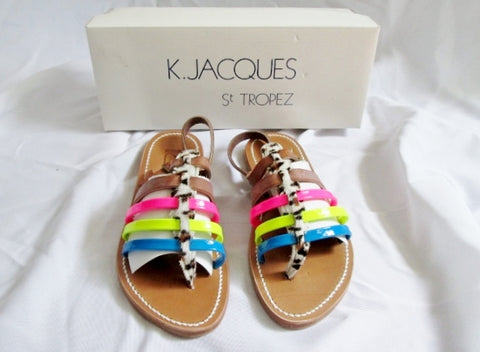 NEW Womens K. JACQUES ST TROPEZ SANDAL SHOE MULTI LEATHER 36 5.5 Fur Thong