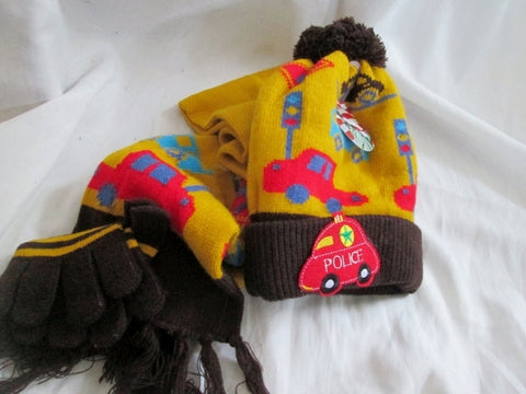 NEW Boys Kids Set HAT GLOVE SCARF Winter YELLOW TRAFFIC BUS CAR TRUCK OS