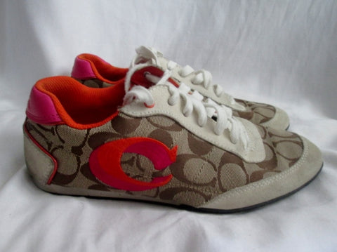 Womens COACH PERRIE Canvas Tennis Shoe Jacquard Sneaker Athletic BROWN 7