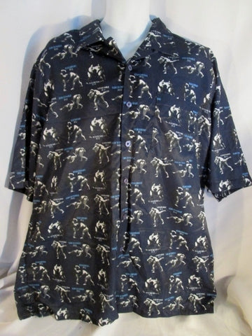 NEW Mens SOUTHPOLE Asian SUMO WRESTLING Button-Up Shirt BLUE XL Wrestler