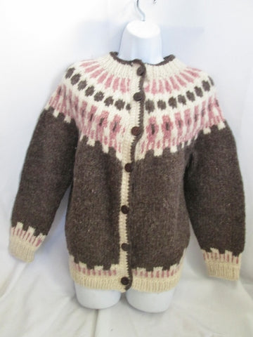 ANTARTEX SHEEPSKIN SHOPS SCOTLAND Wool Sweater Cardigan M BROWN Hand Knit Womens