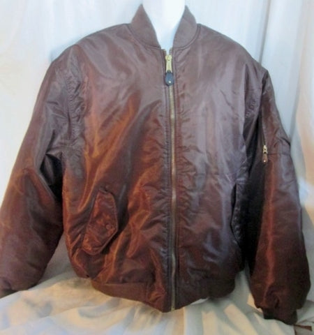 MENS DELF USA Reversible Flight BOMBER Jacket Coat BROWN XL ORANGE Hip Hop Vegan Urban Fashion