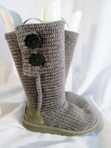 Girls Youth UGG AUSTRALIA 5649 CLASSIC CARDY KNIT Sweater BOOTS Shoes GRAY 3