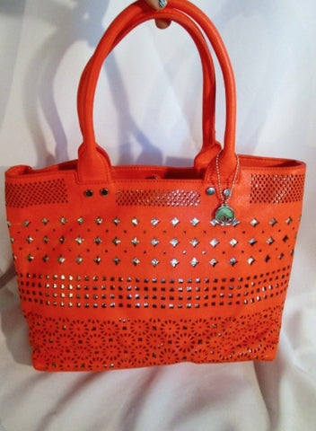 New BIG BUDDHA Faux Leather Shoulder Bag Tote Shopper Carryall RED Cutout Silver XL
