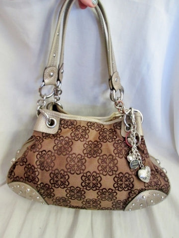 KATHY VAN ZEELAND vegan hobo shoulder bag satchel stud floral heart tote BROWN TAN