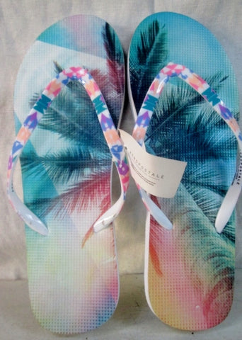 NEW Womens AEROPOSTALE Shower Water Sandals Flip Flops 9 TROPICAL PALM