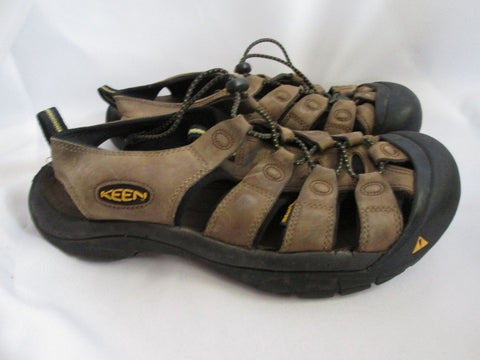 Mens KEEN LEATHER Strap SHOES Sandals BROWN 9.5 Fisherman Camping Trek