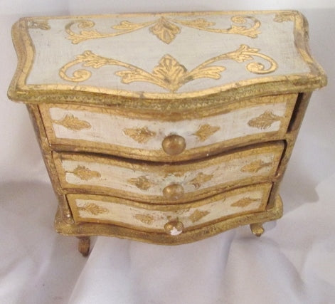 NARDI ITALY Gilt Drawer Jewelry CHEST Wood Box Hand Painted GOLD WHITE