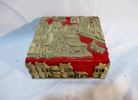 Handmade Carved STONE CHEST Trinket Box Jewelry Asian Oriental Storage ART