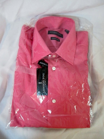 NEW LONDON FOG Wrinkle Free Dress Shirt 15.5 - 32/33 PINK MODERN FIT Mens