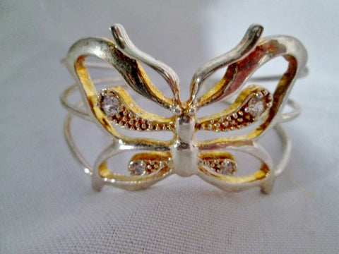 SILVER Jewel Encrusted BUTTERFLY MOTH Bracelet Cuff Band Shackle Arm Body Adornment