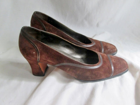 Womens SALVATORE FERRAGAMO 12387 ITALY Leather Suede Pumps 7.5 D Shoes BROWN