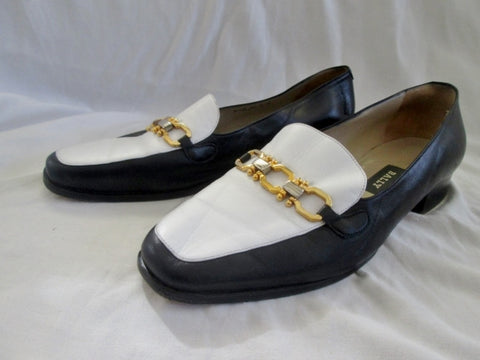 Womens BALLY RUTA Italy Slip On SHOE Loafer BLACK LEATHER 9.5 WHITE HORSEBIT