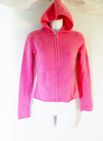 Womens Ladies VINCE CASHMERE Cardigan Sweater Hoodie PINK S COTTON CANDY