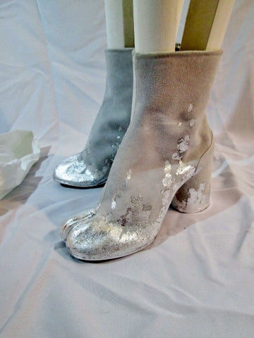 NEW MAISON MARTIN MARGIELA PARIS Split Toe Bootie Boot 36 6 LTD ED SILVER GRAY