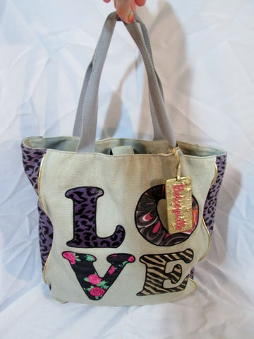 BETSEY JOHNSON LOVE XOX KISSES LEOPARD PURPLE WHITE TOTE Shopper