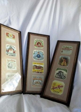 Set 3 MAN CAVE NIEMAN MARCUS Frame Picture ART CIGAR LABEL SMOKE