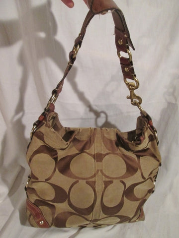 "COACH 10620 CARLY SIGNATURE ""C"" Jacquard Hobo Handbag Satchel Purse BROWN L"