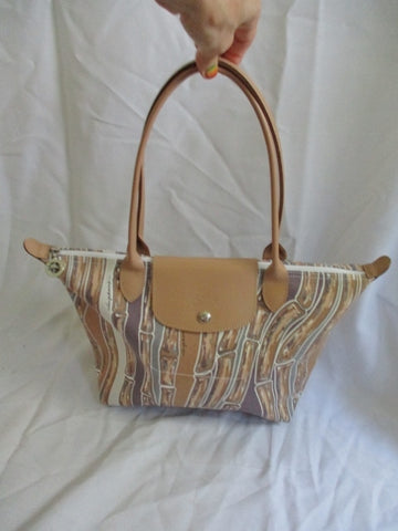 LONGCHAMP Leather Canvas MODELE DEPOSE TOTE Shoulder BAG Shopper BEIGE BLUE