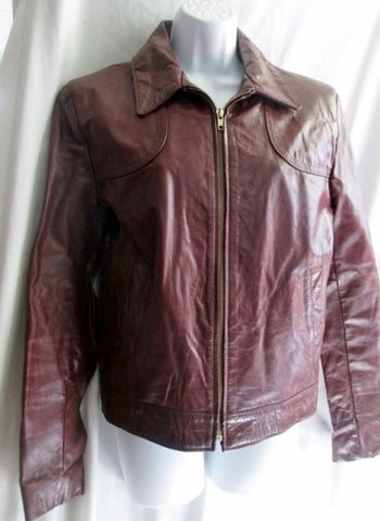 Vtg Womens JEAN PIERRE PARIS LEATHER jacket Moto Coat 38 / S BROWN Riding