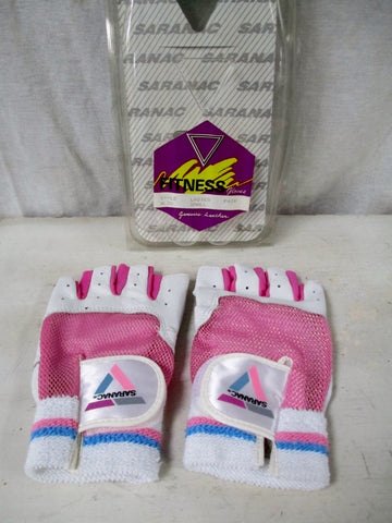 NEW Womens SARANAC Leather Workout Core Fitness Gloves WHITE PINK S