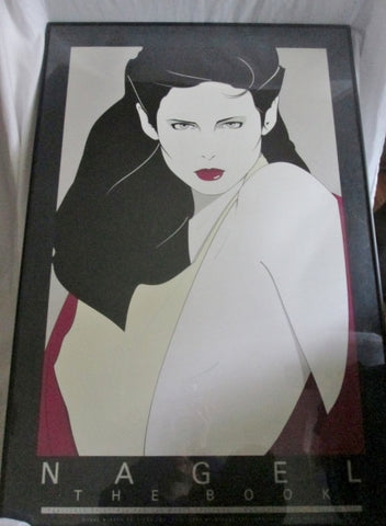 "Vtg 1981 PATRICK NAGEL THE BOOK 36X25""Framed Print ART Woman Duran Duran"