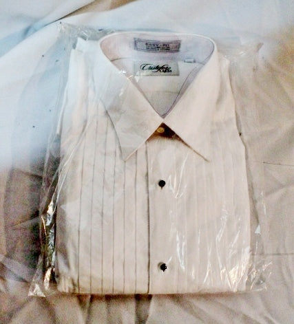 NEW Mens CRISTOFORO CARDI Pleated Tuxedo Shirt WHITE 17 - 34/35 Dress Formal