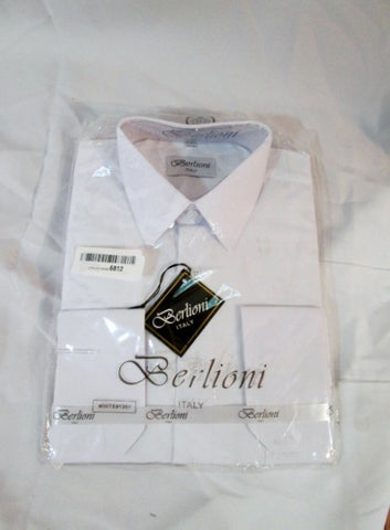 NEW Mens BERLIONI ITALY Dress Shirt 15-15.5 32/33 WHITE Formal Wedding Tuxedo