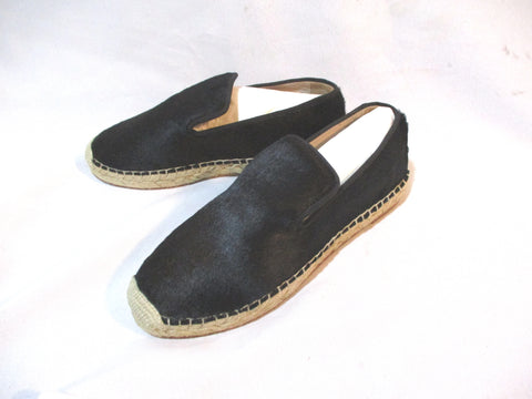 NEW CELINE PARIS SLIPPER LOAFER FUR HAIR Moc Shoe 37 BLACK Espadrille