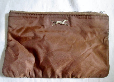 BIMBA & LOLA GREYHOUND DOG Wallet Pouch Case Purse Clutch Vegan Nylon BROWN