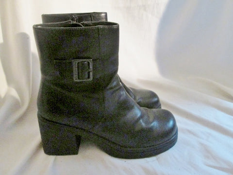 Womens SKECHERS Vegan Moto Ankle Boots Shoes Booties BLACK 8.5 Hipster Goth
