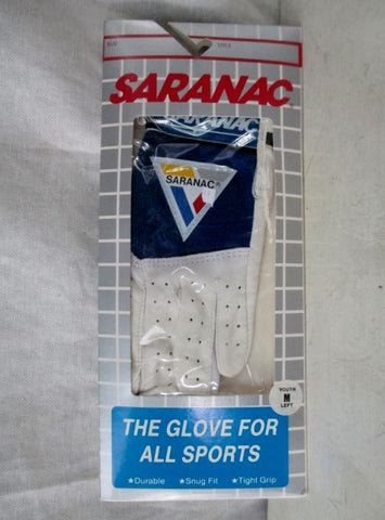 NEW Youth Boys Girls SARANAC Leather ALL SPORTS Glove WHITE M - Left Hand