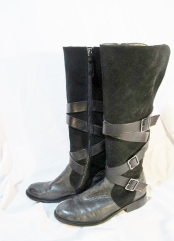 Womens G.I.L.I. RIVINE Knee High Suede Leather Strappy Moto BOOT BLACK 7.5 Riding