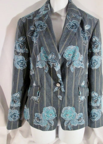 Womens TUZZI GERMANY Cardigan Jacket Blazer BLUE FLORAL Embroidered 46 Striped