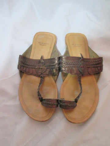 Womens ETRO ITALY Sandal Flip Flop Thong Slide 38.5 / 8 BROWN Shoe Woven