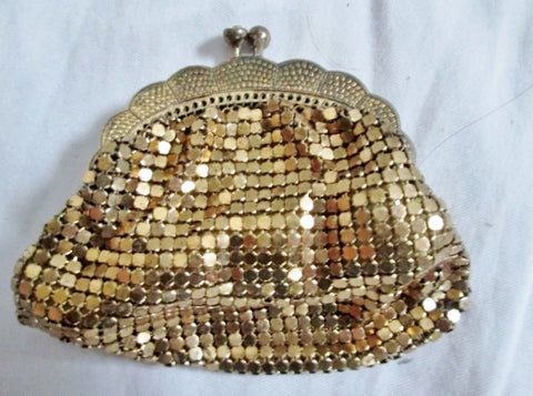 Vintage Antique GOLD Rhinestone Mesh Evening Bag Purse Wallet Mini Coin Change Purse  Clutch