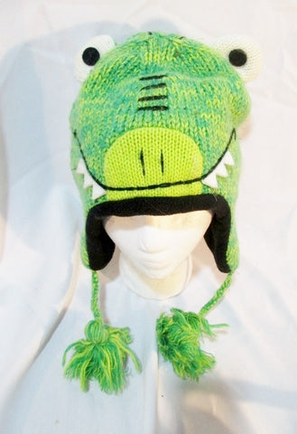 KYBER OUTERWEAR DINOSAUR LIZARD DRAGON Knit Hat Cap Winter Beanie GREEN One Size