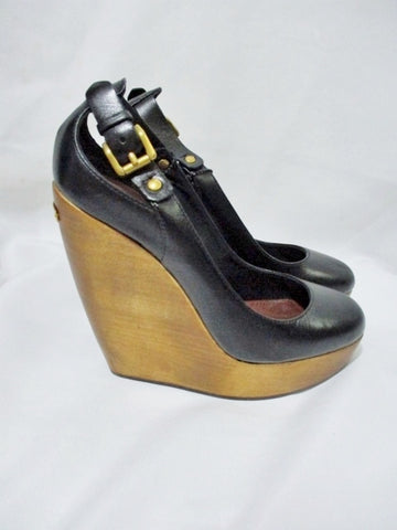 NEW NWT BURBERRY Leather PLATFORM WEDGE WOOD Shoe 36 6 BLACK